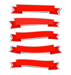 Red ribbon banners sticker with shadow on white vector