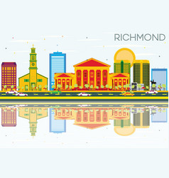 richmond skyline with color buildings blue sky vector image