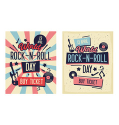 rock and roll festival typography banner set vector image