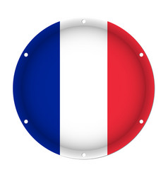 Round metallic flag of france with screw holes vector