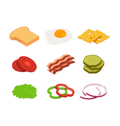 sandwich isometric constructor food vector image
