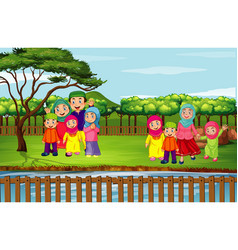 scene with many people in park vector image