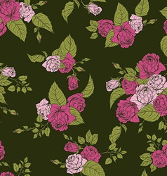 Seamless floral pattern with pink roses on green vector image