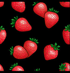 seamless pattern red strawberry with black vector image