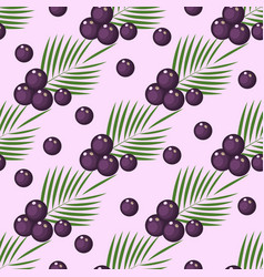 seamless pattern with superfood acai berries vector image