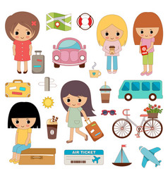 set cute girls on a travel vector image