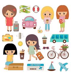 Set cute girls on a travel vector