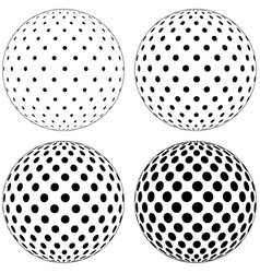 Set of 3d globe ball dots circles on the surface vector