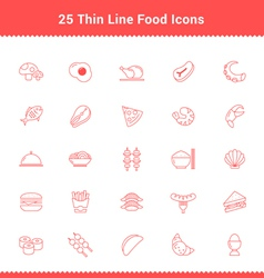Set of Thin Line Stroke Food Icon vector image