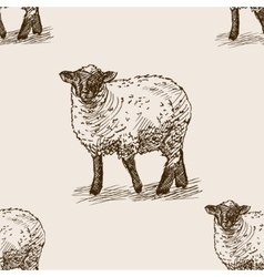 Sheep hand drawn sketch seamless pattern vector