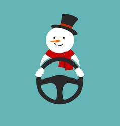 Snowman with steering wheel vector