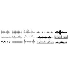 sound waves icon set isolated audio wave vector image
