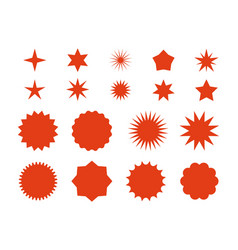 Star burst stickers red retro sale badge flat vector