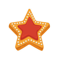 Star shape biscuit with caramel framed by sugar vector