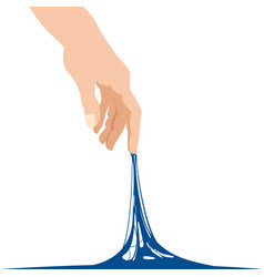 sticky slime reaching stuck for hand blue banner vector image