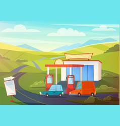 Summer rural landscape scene with gas station vector