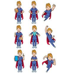 super nurse caucasian female set vector image