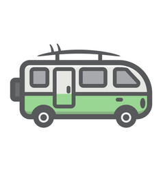 Surfer van filled outline icon transport vector