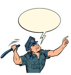 the policeman hits with a baton vector image