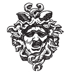 Tympanum medusa head is found in the arch of the vector