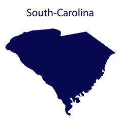 united states south carolina dark blue silhouette vector image