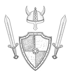 viking warrior set - shield swords and helmet vector image