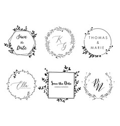 wedding invitation floral wreath minimal design vector image