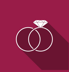 Wedding rings icon isolated with long shadow vector