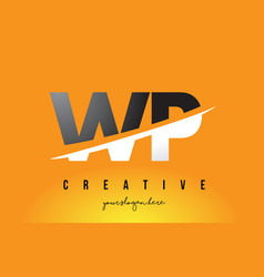 Wp w p letter modern logo design with yellow vector