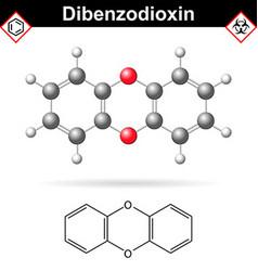 14- Dibenzodioxine polycyclic heterocyclic organic vector image