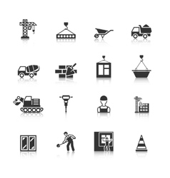 Construction Black Icons Set vector image