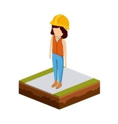 Girl of under construction design vector