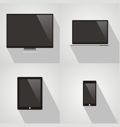 laptop computer phone and tablet with shadow on vector image vector image