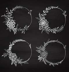 Set of floral wreaths vector image vector image