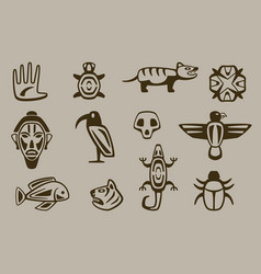 set of stylized native american symbols vector image vector image