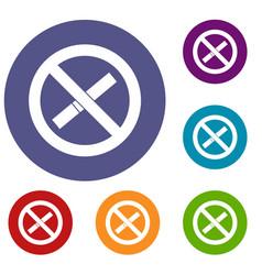 sign prohibiting smoking icons set vector image