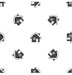 wooden house covered with snow pattern seamless vector image