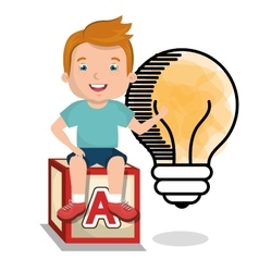 boy studying isolated icon design vector image