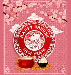 Chinese new year dog spring festival flower card vector