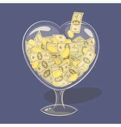 Glass money heart vector image vector image