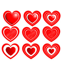 heart set for valentine days red color vector image vector image