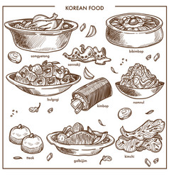 korean cuisine food traditional dishes vector image vector image