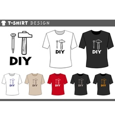 T shirt design with hammer and nail vector
