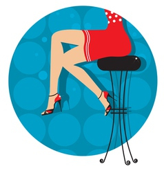 woman legs with fashion shoes sitting on bar stool vector image vector image