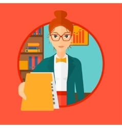 Boss receiving file from employee vector