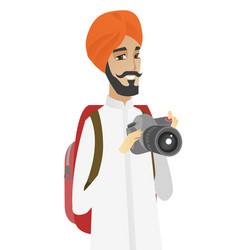 hindu nature photographer with digital camera vector image