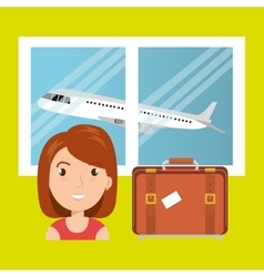woman suitcase airplane window vector image
