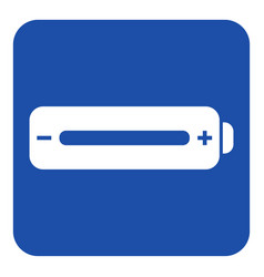 Blue white information sign - battery full icon vector