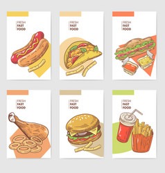fresh fast food hand drawn cards brochure menu vector image