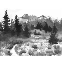 hand drawn watercolor painting of forest landscape vector image vector image